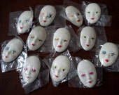 """DOLL FACE PINS Lot of 12 Individually Wrapped 2-1/4"""" long Pin Back Lightly Painted Features"""