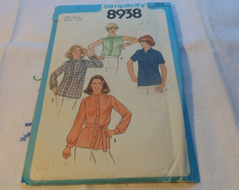Vintage Simplicity Pattern Size 14.5 Uncut Sewing Pattern Womens Patterns Shirt Pattern 1970's Patterns