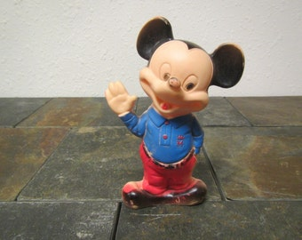vintage  MICKEY MOUSE Rubber Squeeze Toy figure  * Bath Toy Walt Disney,  1960s