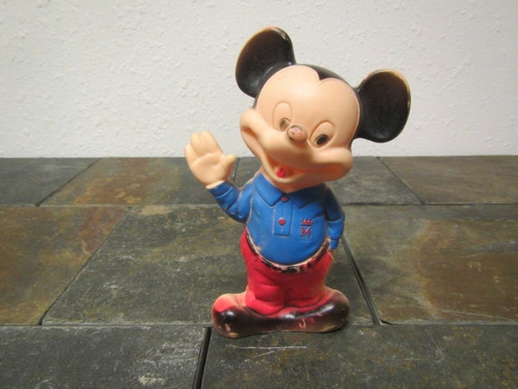Vintage Mickey Mouse Rubber Squeeze Toy Figure Bath Toy