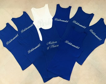 9  Bridesmaid Tank Top Shirt. Bachelorette Party. Matron of Honor.  Maid of Honor Tank Top. Wedding Bridal Party.