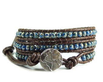 Leather Wrap Bracelet Earth Button Blue Beaded Jewelry