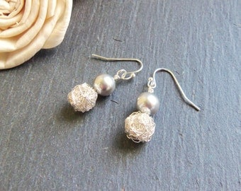 Grey Swarovski pearl and silver wire pearl earrings, crochet wire earrings, sterling silver, surgical steel, retirement gift for women