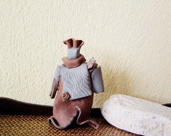 Vintage ceramic figurine, handbuilt stoneware sculpture of abstract figure, grey brown ceramic figure, Greek pottery, mid eighties