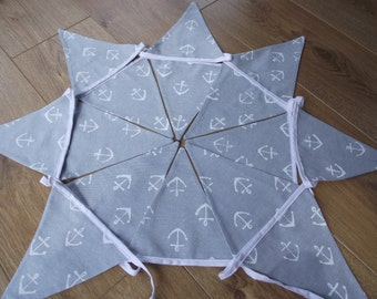 Handmade Nautical Seaside Bunting with Anchors Cotton Fabric from John Lewis