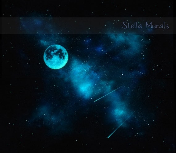 Night sky mural with glow in the dark moon self adhesive for Dark side of the moon mural