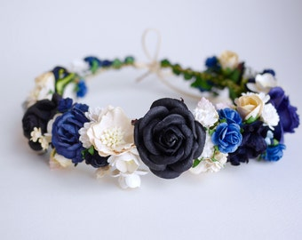 Paper Flower, Crown, Headband, Wedding, ivory, wooden blue, black , passion blue, white, cream and ivory Color.