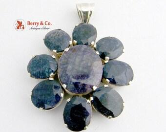 SaLe! sALe! Large Dazzling Flower Pendant Natural Sapphire Sterling Silver