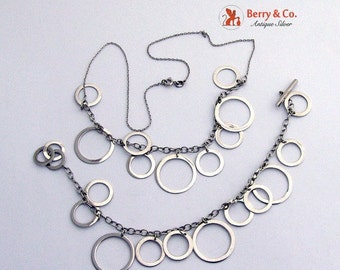 SaLe! sALe! Modern Circle Necklace and Matching Bracelet Sterling Silver