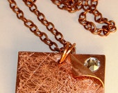 Bright Hand Forged Copper Book Page Mixed Media Pendant