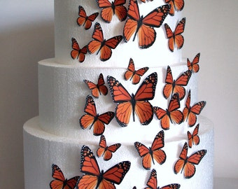 Edible Butterfly Cake Decorations, Orange Monarch Edible Butterflies, Set of 24 DIY Cake Decor, Edible Cake Decorations, DIY Wedding Cake