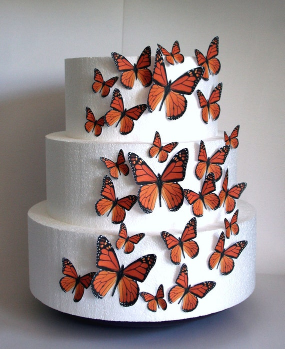 Cake Decorating Store Orange Ca : Edible Butterfly Cake Decorations Orange Monarch Edible