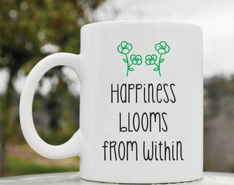 Slap-Art™ Happiness blooms from within 11oz coffee mug cup