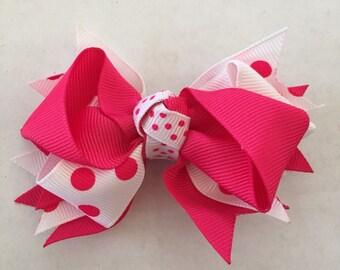 "Bright Pink and White Polka Dot Hair Bow on Hair Clip 3 1/2"""