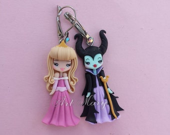 maleficent earrings and aurora in fimo, polymer clay