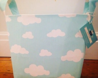 Clouds Fabric Basket - Nappy Basket, Diaper Caddy, Nursery Storage, Playroom, Toy Storage, Nursery Decor - Aqua, Mint
