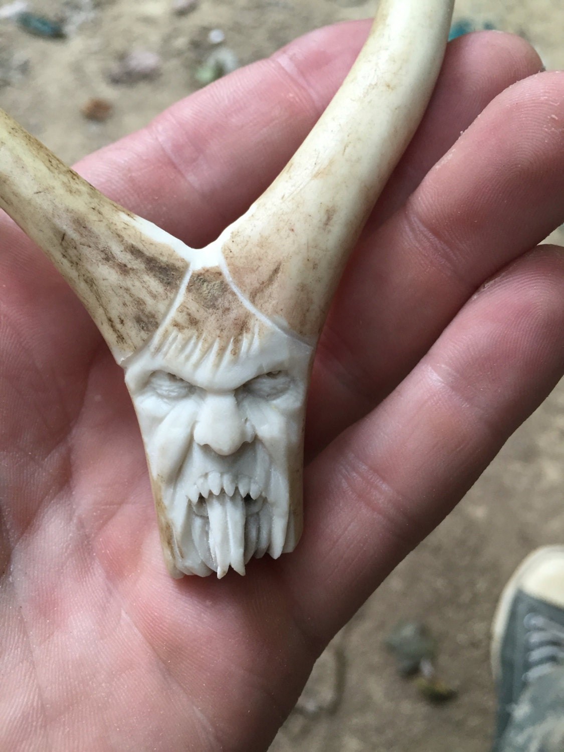 Bone Carving Ornament Evil Demon Hand Carved Deer