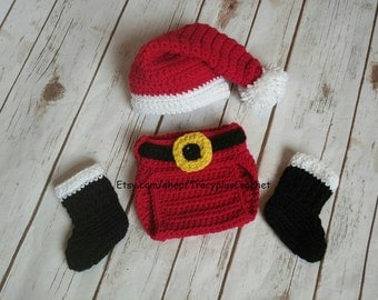 Santa 3 piece photo prop set. Crochet baby Santa set. Santa hat, diaper cover and black boots. Handmade to oder.