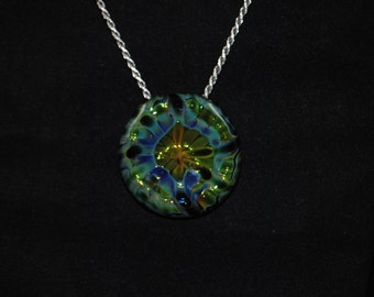Glass Gold and Silver Fumed Pendent