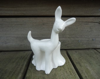 Vintage White Deer Planter