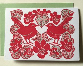 Love Birds & Violets Card- Red +Green