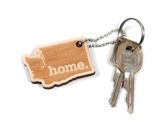 Washington Key Charm by Home State Apparel: Laser Engraved Wood Keychain, IA