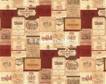 Vintage wine labels dolls house wallpaper perfect detail edge matched