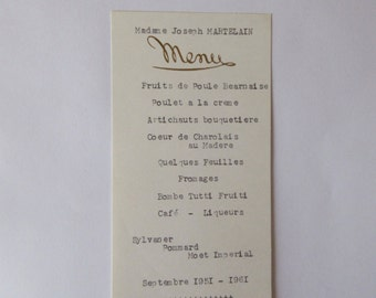 1960's, Antique Vintage French Menu, Dated September 1961, French Restaurant Menu,