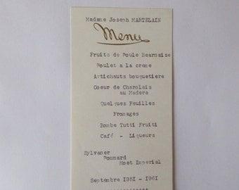 1960's, Antique Vintage French Menu, Dated September 1961, French Restaurant Menu,