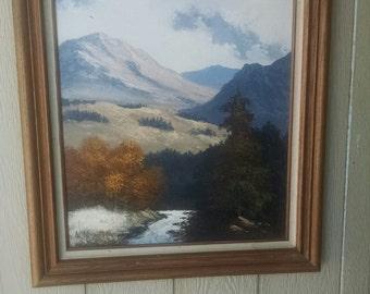 Vintage Oil on Canvas Landscape Mountainscape Signed Artist A Saunders
