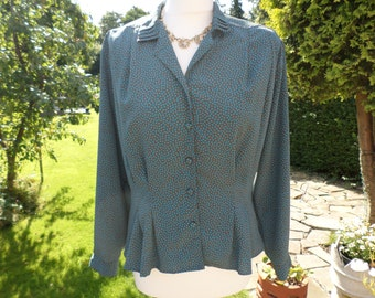 Vintage Blouse Brown & Teal Made In England
