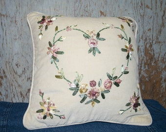 Vintage Lillian Vernon Pillow with Victorian Ribbon Embroidery / Heart Shape/Roses/Flowers/Cream Pillow/Estate