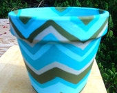 25% OFF Hand painted plant pot - Zig Zag Waves - aqua blue, olive green and gray - hand painted terra cotta