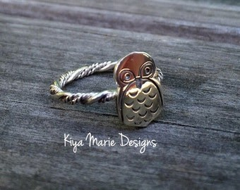 Owl Ring, twisted band stack ring, Sterling Silver Argentium Silver Stack Rings, owl nature rings, owl jewelry