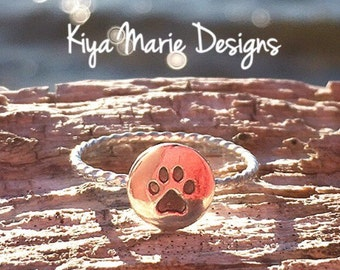 Paw print ring, dog cat paw ring, Skinny band stack ring, Sterling Silver Argentium Silver Stack Rings, animal lover rings
