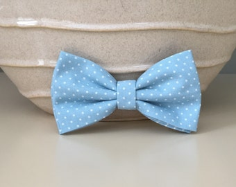 Dog Bow / Bow Tie - Powder Blue w White Dots
