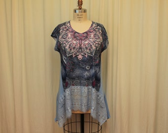 Summer top Romantic women's tunic Lagenlook top Hippie clothes Boho tunic  top Upcycled fashion Shabby lace dress Eco clothing XL-1X purple