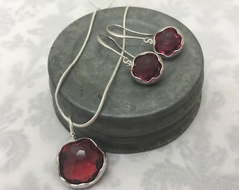 Necklace Earring Set - Sterling Silver - Raspberry Faceted Glass Set in Sterling Silver Necklace & Matching Earrings - Gift Set - Bridesmaid