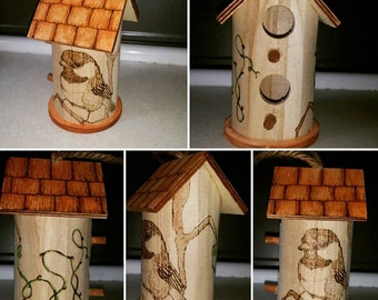 Chickadee Birdhouse, Pyrography Indoor Decoration