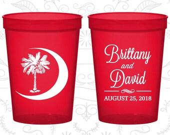 Palmetto Tree Cups, Wedding Stadium Cups, Crescent Moon, South Carolina Palmetto, Palmetto Moon, souvenir stadium cup (78)