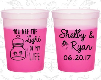 You are the Light of my Life, Custom Mood Cups, Fire Fly, Mason Jar, Light Inspirational, Magenta Mood Cups (262)