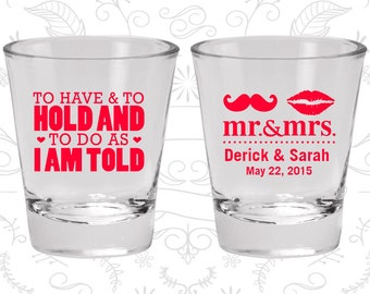 Personalized Shot Glasses (C91) To Have and To Hold - Wedding Favors - Custom Glassware - Shot Glasses
