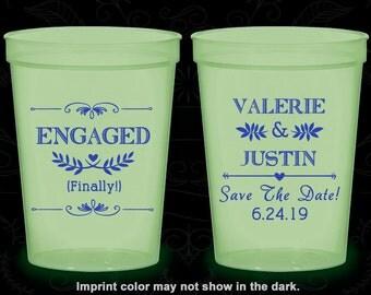 Engagement Wedding, Custom Glow Stadium Cups, Save the Date Wedding, Rehearsal Dinner, Glow-in-the-Dark (482)