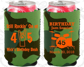 45th Birthday, 45th Neoprene Birthday, Still Rockin at 45, Birthday Jam Session, Neoprene Birthday Can Coolers (20069)