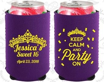 16th Birthday, 16th Neoprene Birthday, Sweet 16 Party, Keep Calm and Party on, Neoprene Birthday Can Coolers (20140)