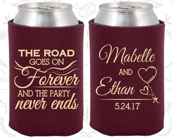 The Road Goes on Forever and the Party Never Ends, Unique Wedding Gift, Romantic Wedding Gift, Fairy Tale Wedding, Wedding Can Coolers (479)