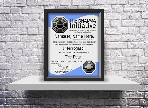 Lost TV Show Dharma Initiative acceptance letter Custom - Choose Size, Frame, and Details