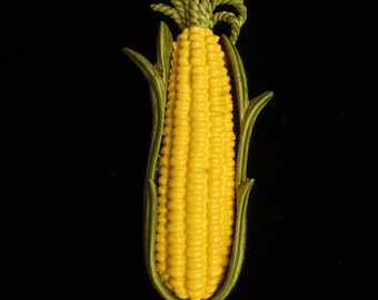 Corn on the Cob Enamel Brooch Pin