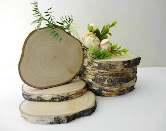 "4""-5"" Birch Slices, Wedding Decor, Tree Slices, Birch Tree Slices, Birch Coasters, Rustic Wedding Decor, Coasters, (E17) Set of 8"