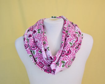 Pink Floral Flannel Infinity Scarf